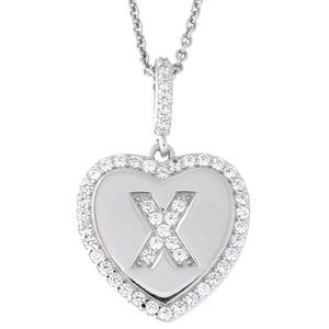 Letter X Initial Heart CZ Pendant Sterling Silver